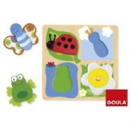Goula Fabric Wooden Puzzle 4 Piece Jigsaw - Countryside